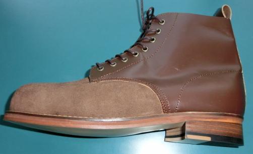 革暗茶アンクルブーツ靴底革