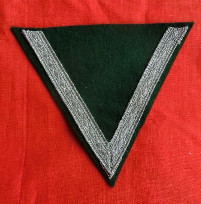 上等兵腕シェブロン 濃緑 V銀帯