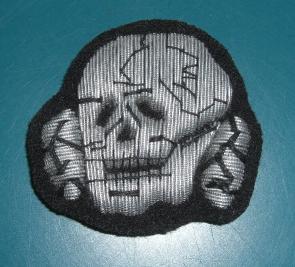 銀刺繍髑髏帽章