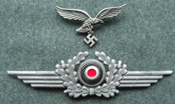 メッキ空軍LW金属帽章