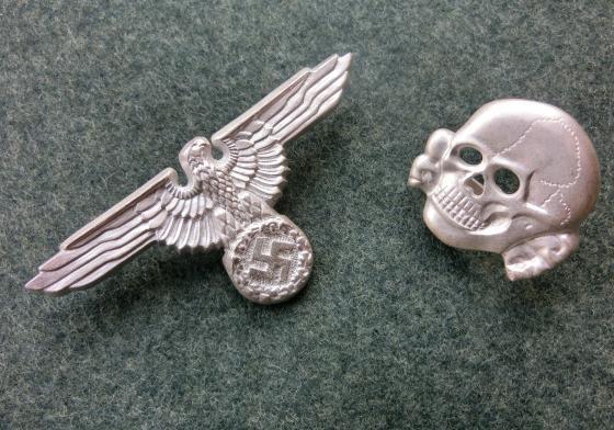 銀製SS髑髏鷲帽章セット